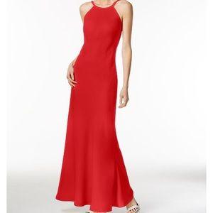 Red Calvin Klein Open-back halter gown